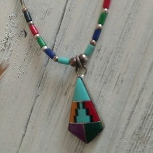 Zuni Native American Indian Stone inlay necklace